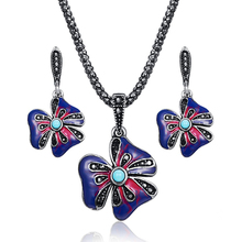 Дизайн, многоцветная эмалированная подвеска в виде цветка, ожерелье, серьги, ювелирный набор, винтажный черный кристалл, смола, этнический стиль, ювелирные наборы