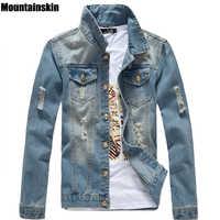 Mountainskin Spring Men's Jean Jacket Slim Men Fits Denim Jeans Solid Male Jean Coats Men Cowboy Fashion Brand Clothing,SA158