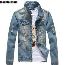 Mountainskin Весенняя Мужская джинсовая куртка Slim мужчин подходит джинсы твердые мужской Джинсовое пальто Мужчины Ковбой Мода брендовая одежда, SA158