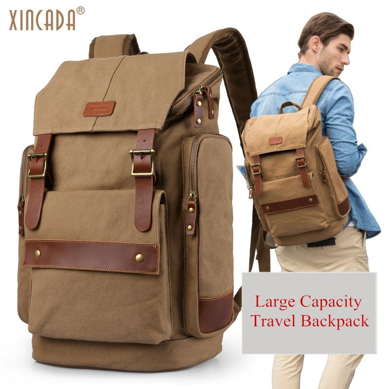 XINCADA Men's Canvas Travel Backpack Large Capacity 15.6 Inch Laptop Backpack Huge Rucksack Casual School Bag for College edgy trendy casual canvas backpack men large capacity simple backpack fashion hook buckle travel bag durable rucksack