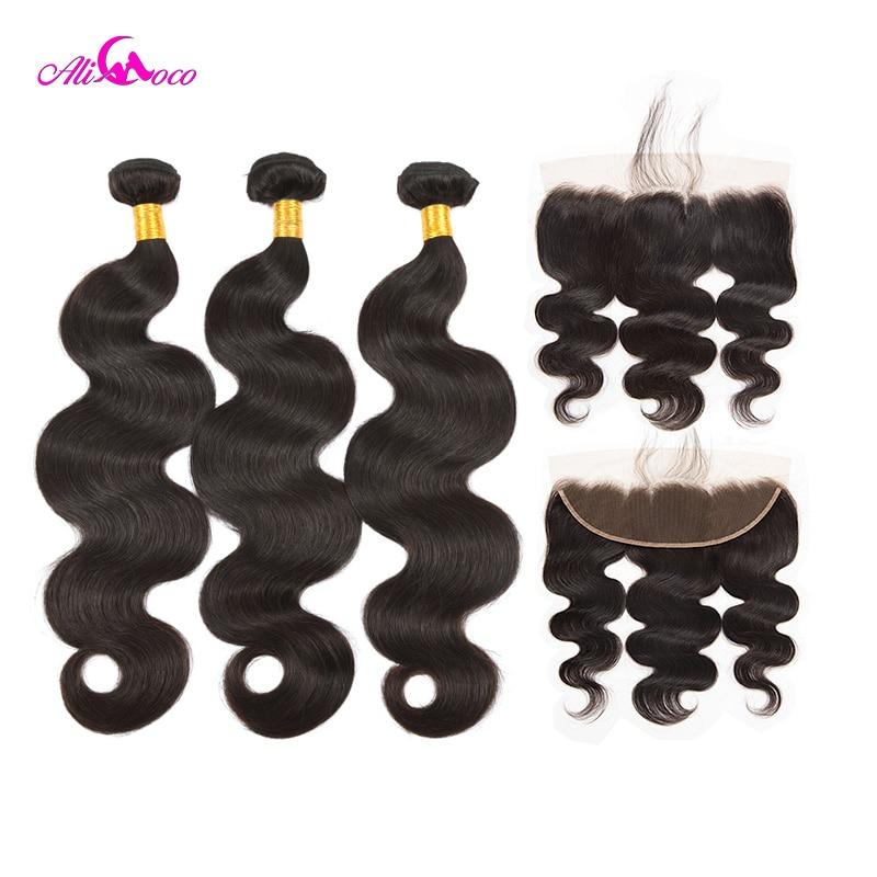 Ali Coco 3 Brasileiro da Onda Do Corpo Pacotes Com Rendas Fechamento Frontal cor Natural/#2/#4 Humano cabelo Pacotes Com Rendas Frontal