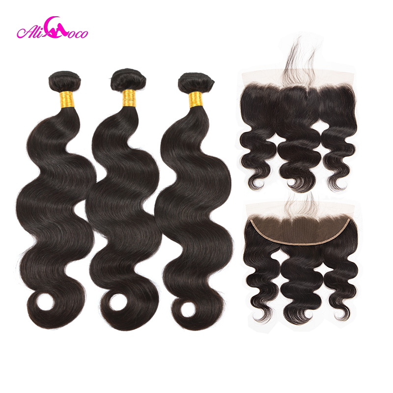 Ali Coco Brazilian Body Wave 3 Bundles With Lace Frontal Closure Natural color/ #2/#4 Human Hair Bundles With Lace Frontal