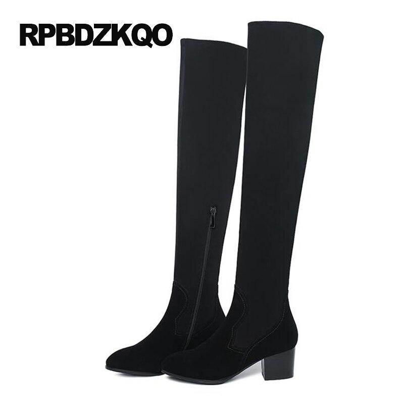LICRA zapatos de tacón alto estiramiento sobre la rodilla moda delgada piel de oveja cuero genuino gamuza muslo mujeres botas largas gruesas - 6