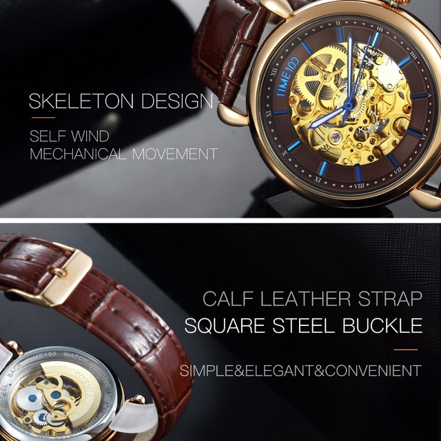 TIME100 - Mechanical Skeleton Watch - Hollow Out Self-wind 4