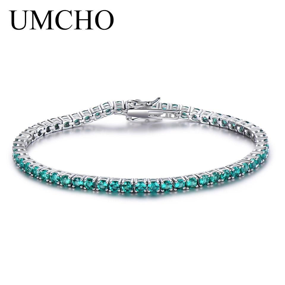 UMCHO Luxury Emerald Bracelet For Women 925 Sterling Silver Jewelry Personalized Birthstone Romantic Wedding Gemstone Jewelry цена