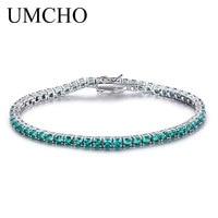 UMCHO Luxury Emerald Bracelet For Women 925 Sterling Silver Jewelry Personalized Birthstone Romantic Wedding Gemstone Jewelry