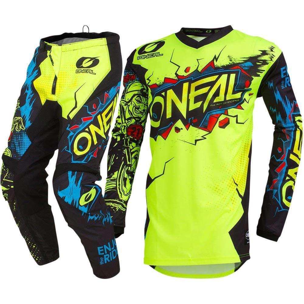 Free Shipping 2019 Racing MX Element Villain Neon Yellow Jersey Pants Motocross Gear Set neon yellow