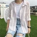 Fresco Estilo Srping Moda Solta Toda a Partida de Algodão Listrado Do Vintage Simples Camisas Femininas