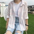 Fresh Srping Style Cotton Vintage Striped Fashion Loose All Match Simple Female Shirts