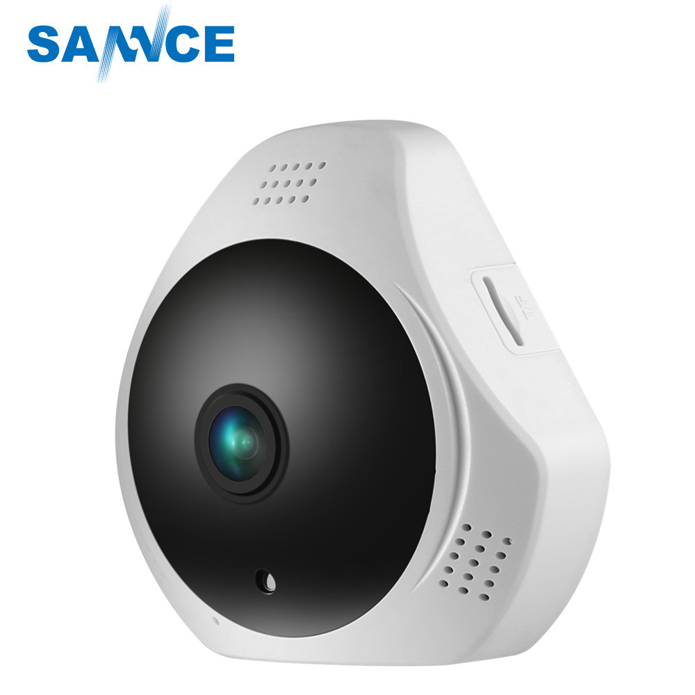 SANNCE 360 Degree Fisheye 960P HD Panoramic CCTV IP Camera 1.3MP Wireless Security Camera Wifi Cam & Two-Way Audio Built-in MIC