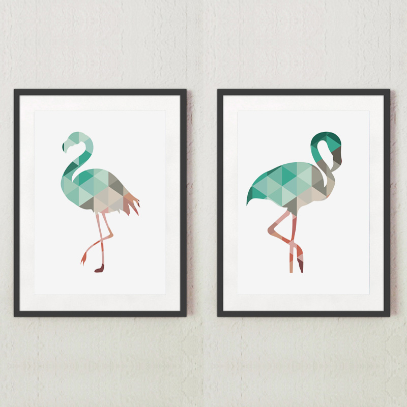 Geometric Coral Flamingo Canvas Art Print Poster Wall Pictures on the wall for Home Decoration Canvas painting Frame not include