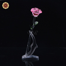 WR Romantic Crystal Rose Valentine Gifts Pink Long Stem Flower New Year Party Decoration Beautiful Home Christmas Decor