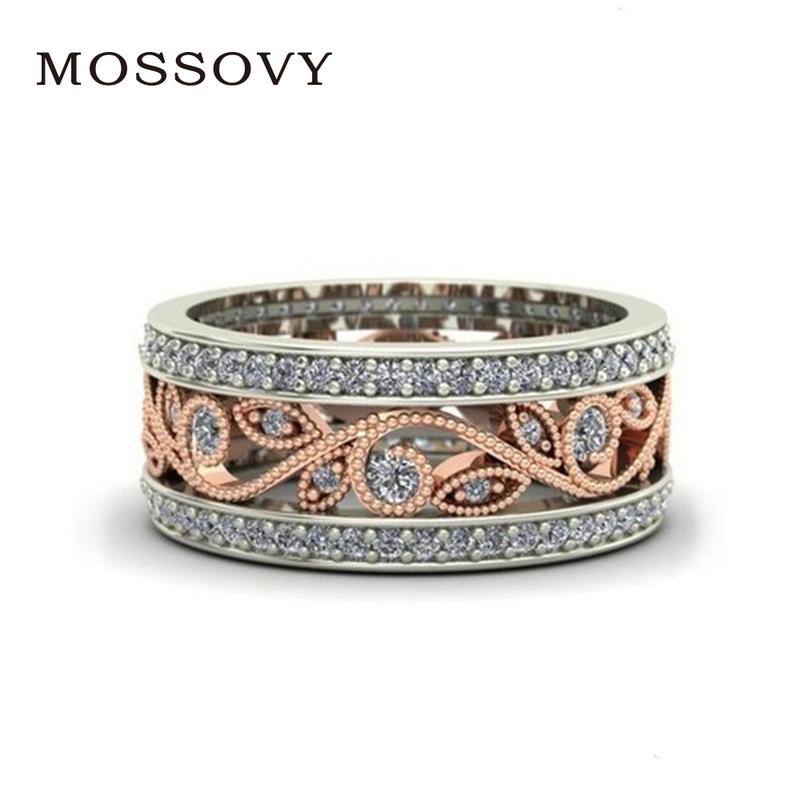 Best buy ) }}Mossovy Shiny Rose Gold Ring Flower Zircon Engagement Ring Fashion Jewelry Wedding Rings for Women