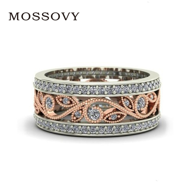 Mossovy Zircon Rose Gold Flower Engagement Ring for Female Fashion Jewelry Rhine