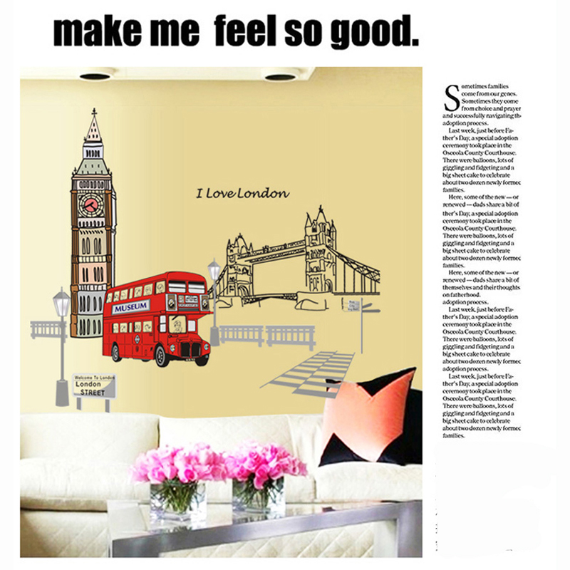 London bridge Big Ben wall stickers wallpaper for wall decoration ...