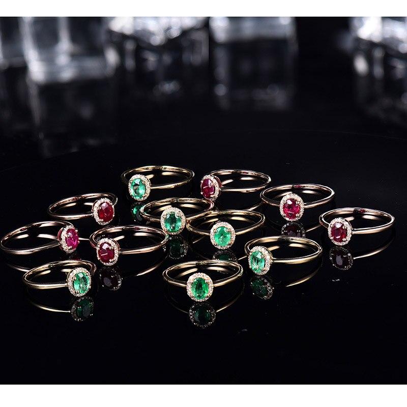14kt or jaune anneaux pour femmes éternité amour bague de fiançailles naturel ovale émeraude rubis pierres précieuses diamants dame bijoux en Stock - 5