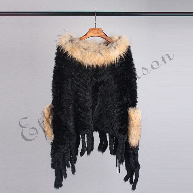 С натуральным кроличьим мехом вязаная шаль пончо Для женщин Racccoon меховая Куртка с воротником куртка жилет пуловер элегантный платок шарфы