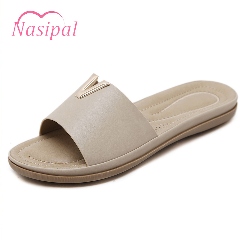 Nasipal Bohemia Summer Casual Women Flat Sandals Platform Ladies Beach Shoes Flip Flops Soft Breathable Slipper Shops Metal C303 summer flat sandals ladies jelly bohemia beach flip flops shoes gladiator women shoes sandles platform zapatos mujer sandalias