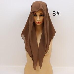 Image 5 - HOT SALE High Quality 10 Nice Color plain bubble chiffon shawl popular muslim hijab head wear fashion women square scarf 90X90cm