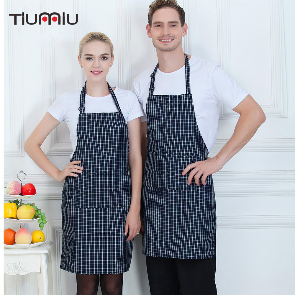 High Quality Chef Apron Plaid Adjustable Halter Neck Food Service Restaurant Kitchen Cooking Cafe Hotel Waiter Work Uniform
