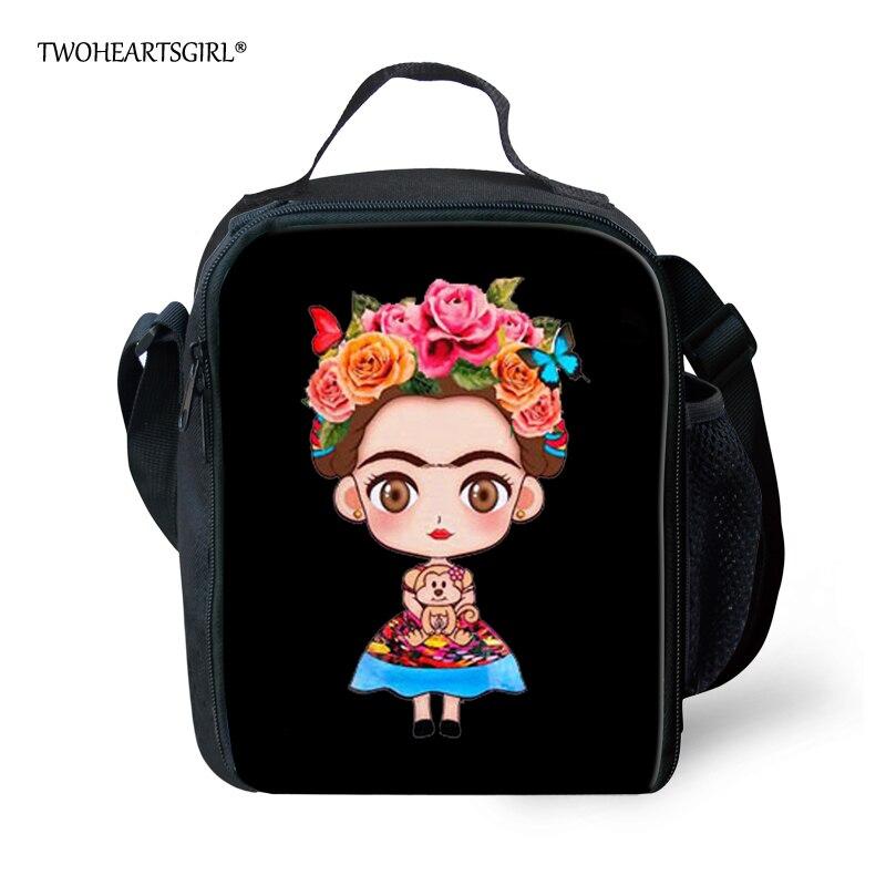 Twoheartsgirl Schwarz Kunst Frida Kahlo Print Mittagessen Tasche für Frauen Isolierte Thermische Teen Mädchen Kinder Mittagessen Box Thermo Lebensmittel Taschen