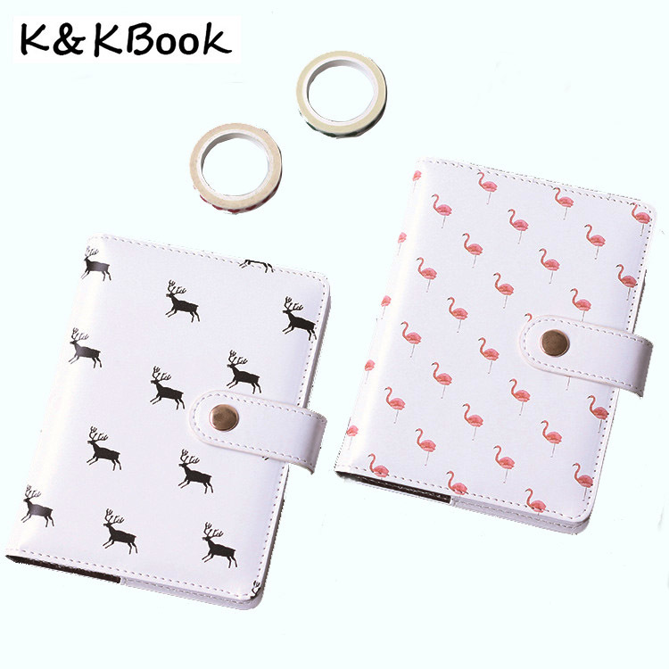 K&KBOOK Kawaii Leather Notebook A6 Flamingo Notebook Diary School Agenda Planner 2018 Weekly Planner Leather Journal Papelaria creative art fashion a6 journal planner book weekly monthly daily page blank paper pu leather diary notebook gift free shipping