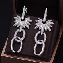GODKI Brand New Hot Fashion Popular Luxury Long Dangle Full Cubic Zirconia Pave Silver Wedding Earring For Women
