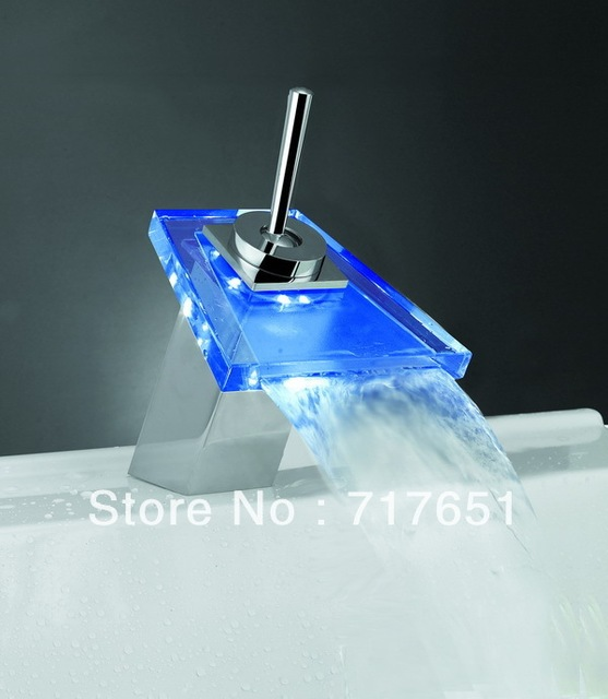 LED Faucet Kitchen Bathroom Glass Basin Waterfall Faucet Mixer Tap HOT!!!