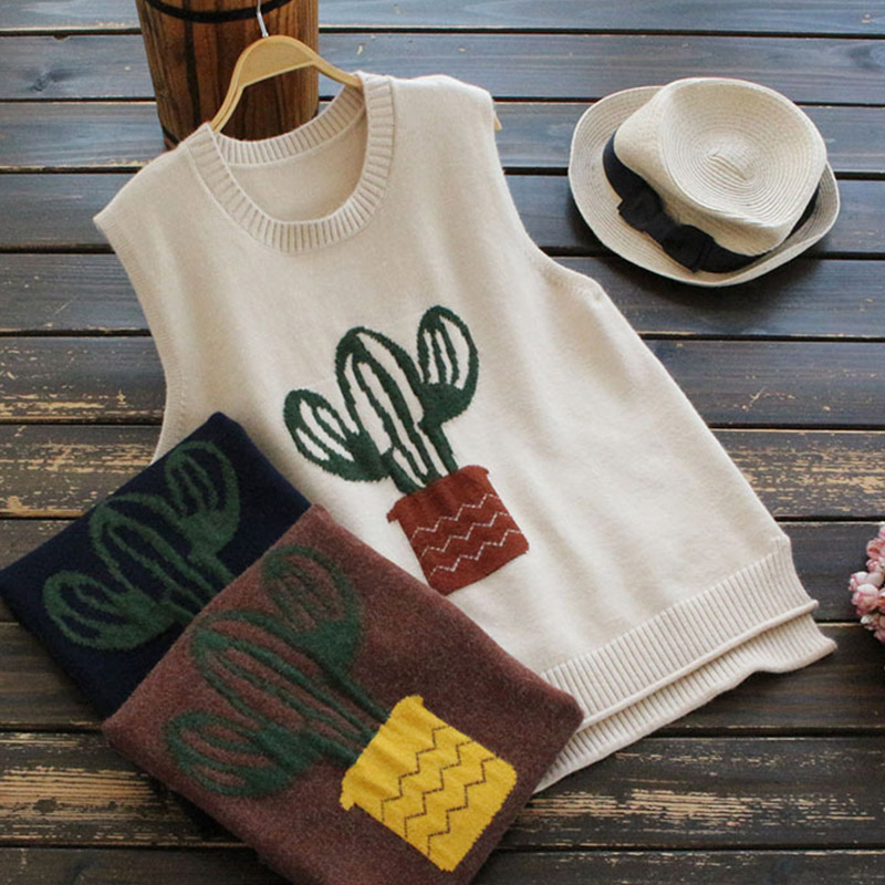 Cartoon Cactus Sleeveless Sweater