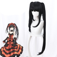 DATE A LIVE Tokisaki Kurumi Cosplay Wigs High Quality Heat Resistant Synthetic Wig Black Sexy Synthetic Hair Cosplay Wigs