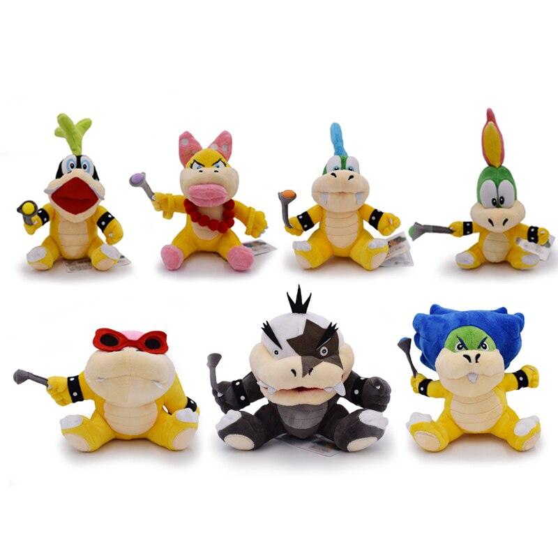 7 Styles/ensemble 15-24 cm Super Mario Bowser JR Larry Wendy Ludwig Morton Iggy Lemmy Roy peluche jouet Anime cadeau pour enfants livraison gratuite