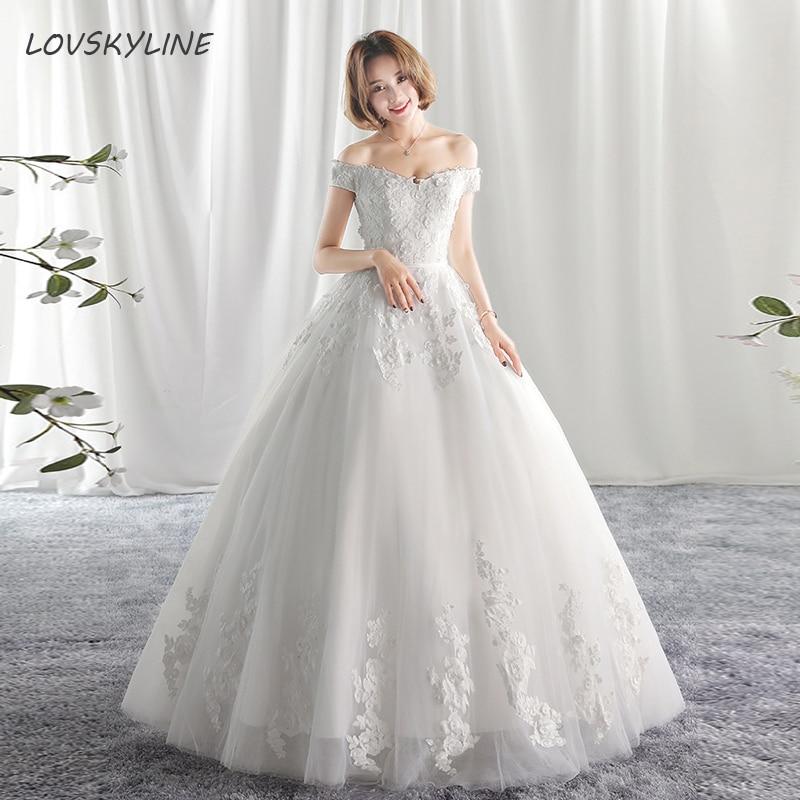 Luxury Wedding Dresses Boat Neck Beading Appliques Short Sleeve Princess Lace Wedding Dresses 2018 New Fashion