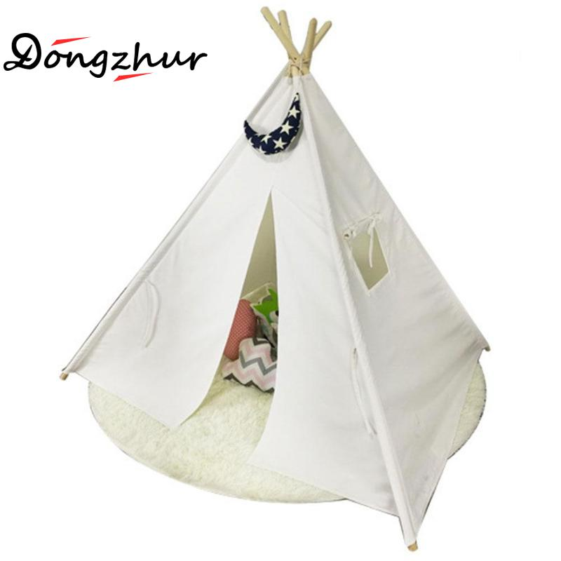 European And American Style Kids Teepee Tent Cotton Canvas Teepee Children Toy Indian Tent White Play House For Baby Room Tipi yellow chevron pet teepee dog bed house teepee for dogs rabbit teepee