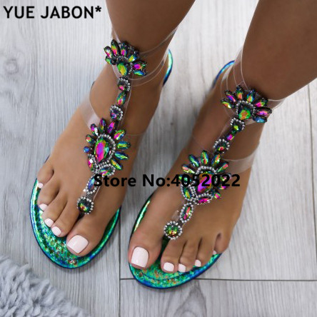 YUE JABON Summer Women Flat Rhinestone Sandals Casual Gladiators Fashion Crystal Slip On Women Shoes Gold White plus Size 35-43