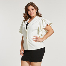 Women's Plus Size Ruffle Sleeve Cotton White Blazer