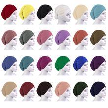 12 PCS ใหม่ 2019 มุสลิม Headscarf Hijab หมวกหมวกภายใต้ผ้าพันคอ Bonnet คอมุสลิมผ้าพันคอแฟชั่นสีสุ่ม