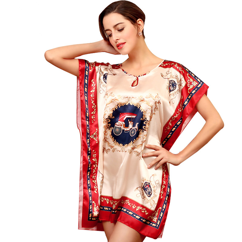 Sexy Silk   Nightgown   Vintage   Sleepshirts   Women Batwing Sleeve Robe Plus Size Sleepwear Lounge Casual Satin Silky Bathrobe