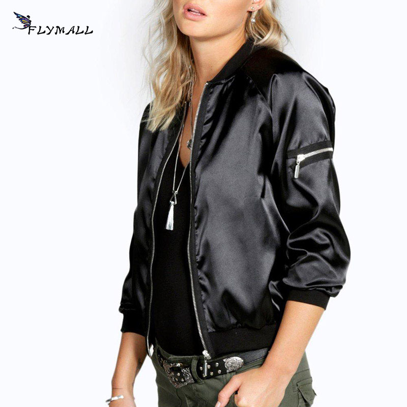 2017 Quilted Bomber Jacket Women Short Satin Jackets Coats Autumn