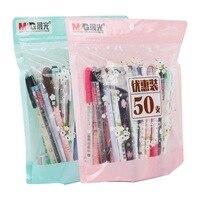 M&G 50pcs/bag Stationery Gel Ink Pen Gel Ink Set 0.35mm / 0.38mm Fountain Pen Black & Blue Gift Set 50pcs HAGP0704