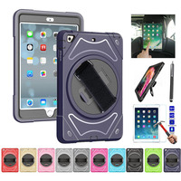 XSKEMP For iPad Air 3rd Gen 10.5 2019 A2152 A2123 A2153 A2154 360 Rotatable Stand Hand Shoulder Strap Case Cover+ Tempered Glass