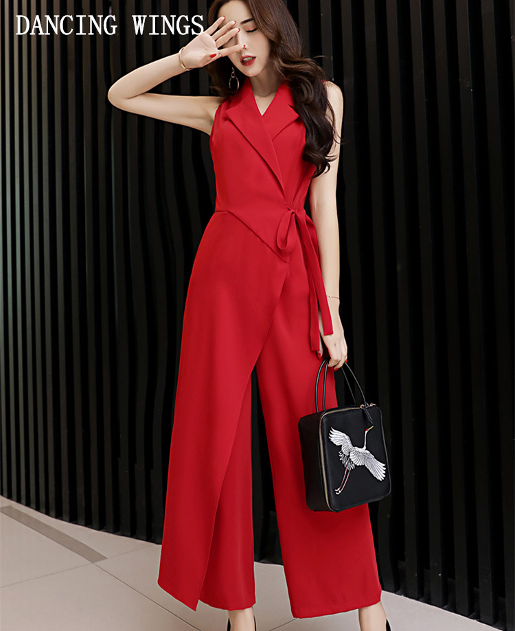 Sleeveless Red Lace Up   Jumpsuits   Women Summer Loose Big Size Wide Leg Pants High Waist Ankle Length Trousers