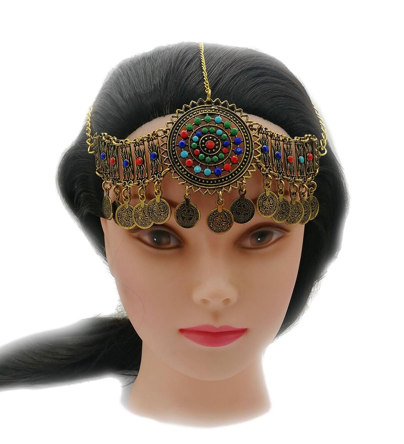 us $3.32 30% off|bohemia coin bead head chain headdress silver gold bracelet hair accessories gypsy tribal ethnic turkish egypt india jewelry set-in