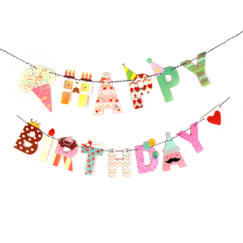 Girls Boys Ice Cream Crown Party Bunting 1 Banner Flags Per Bunting Length 2m Party Favors Kids Boy Happy Birthday Decoration earrings