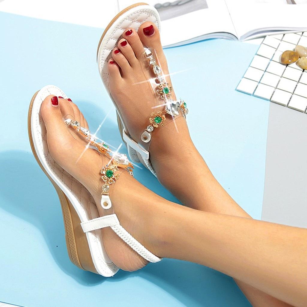 Sandals Shoes Rhinestone Wedge Flip-Flops Fashion Women's Summer Ladies Wear Feminina