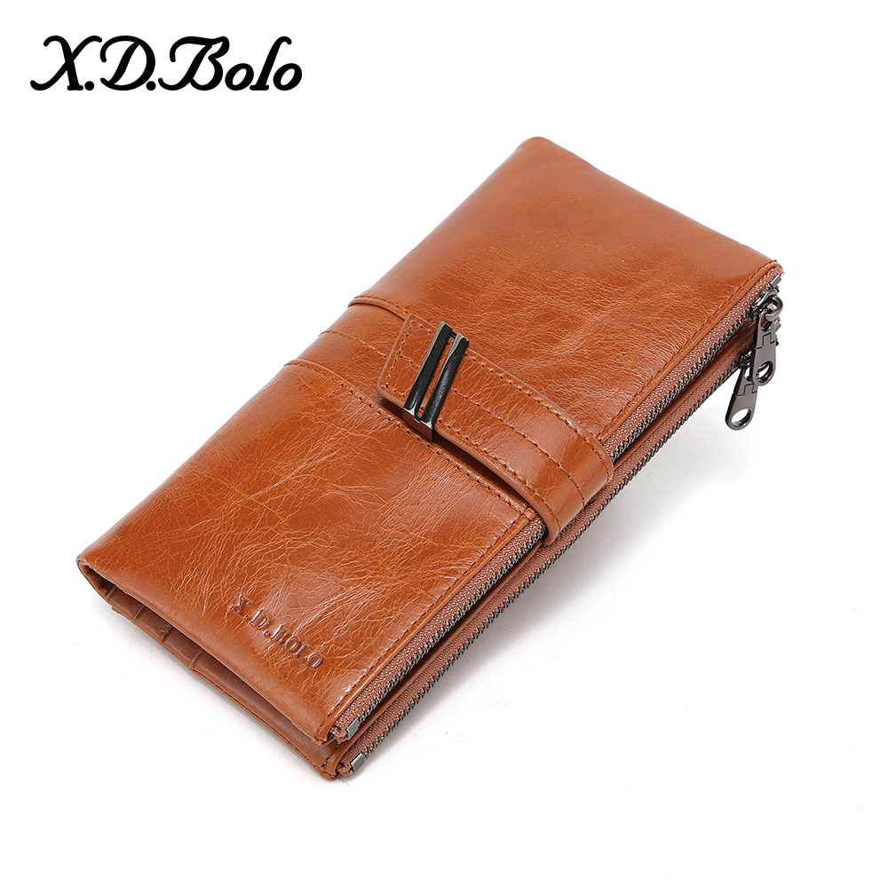 X.D.BOLO Women Purses Leather Wallet Ladies Cellphone Clutch Bag with Coin Pocket Card Holder Long Zip Women Wallets and Purse