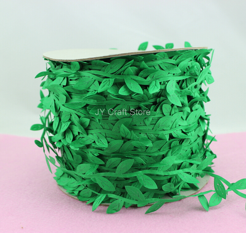 200yard/lot Cut Out Green Leaves Ribbon Green Vine for home decor projects, spring wedding bouquets handmade cards