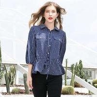 autumn shirt female Casual Woven Striped womens tops and blouses 5XL plus size Turn down Collar chemise femme blusas mujer
