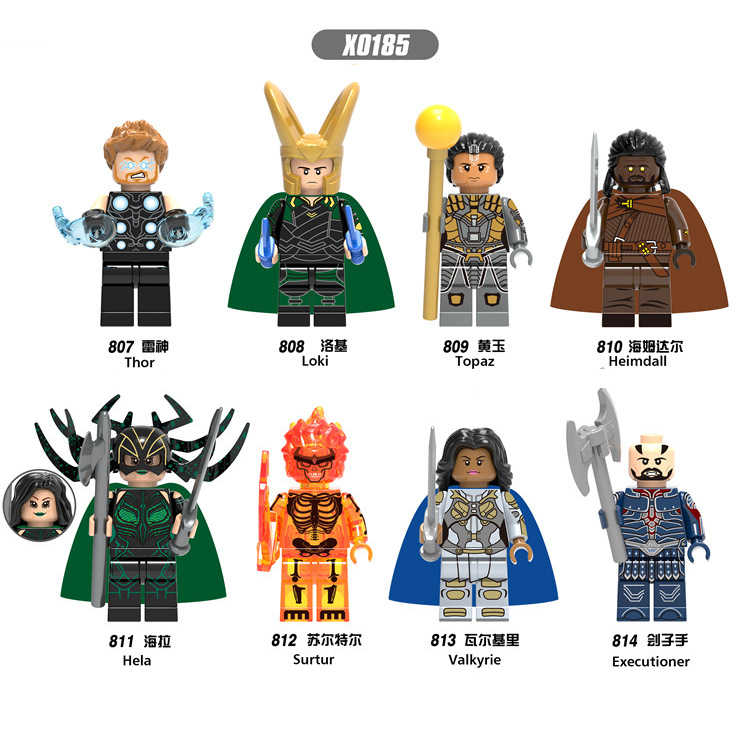 X0185 AvengersING LegoINGls Marvel character Raytheon 1-3 Rocky topaz Hemdar Hella Sultel Valkyrie killer child Collection toy