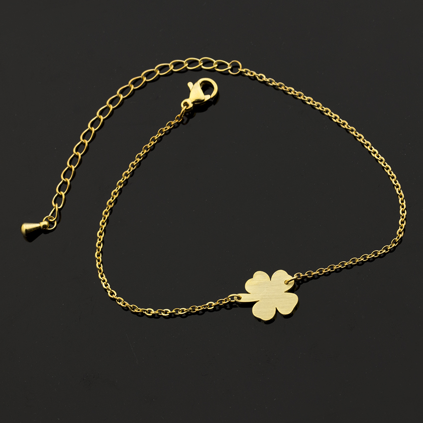 GORGEOUS TALE Good Luck Four Leaf Clover Bracelets Womens Chaine De Cheville Leg Chain Beach Jewelry Barefoot Anklets For Women