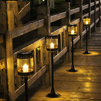 Led Solar Energy Powered Candle Lamp 80cm Waterproof Outdoor Garden Street Solar Panel Weaving Lights Lawn Yard Landscape Decor
